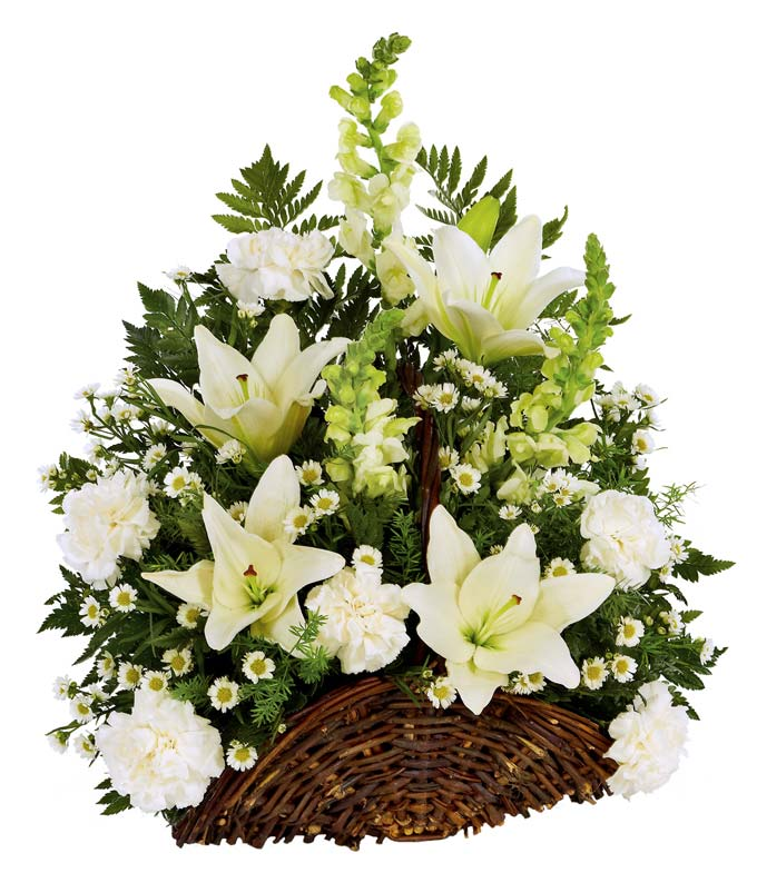 White flower fireside basket