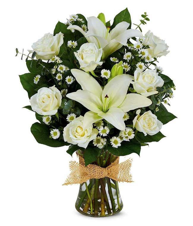 White roses and white lily bouquet