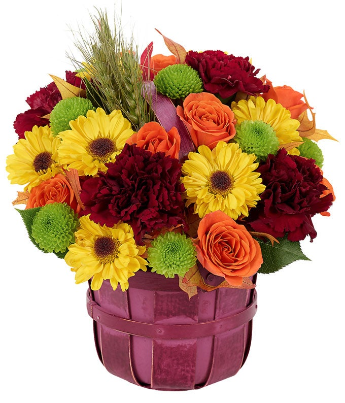 Orange, Green and Yellow Fall Basket Bouquet