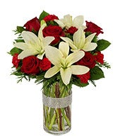 Dazzling Holiday Rose & Lillies Bouquet
