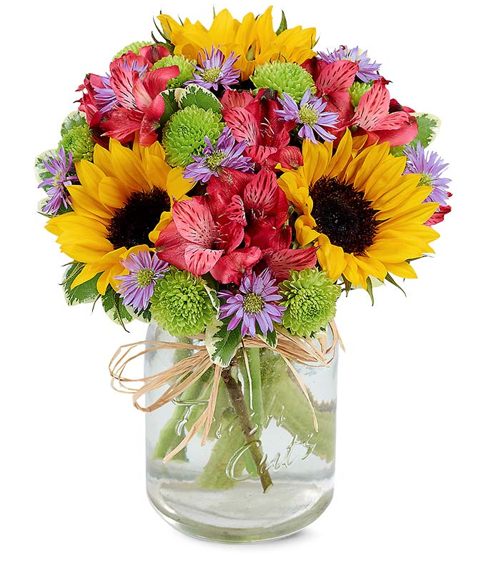 Autumn Flower Fields Mason Jar