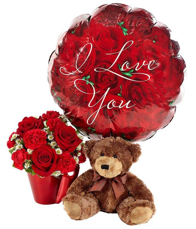 I love you balloon delivered with red roses, chocolate and cute teddy bear