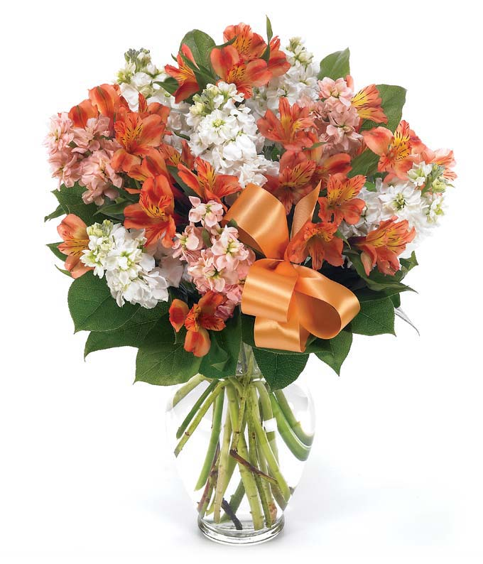 Orange and white flowers with alstroemeria