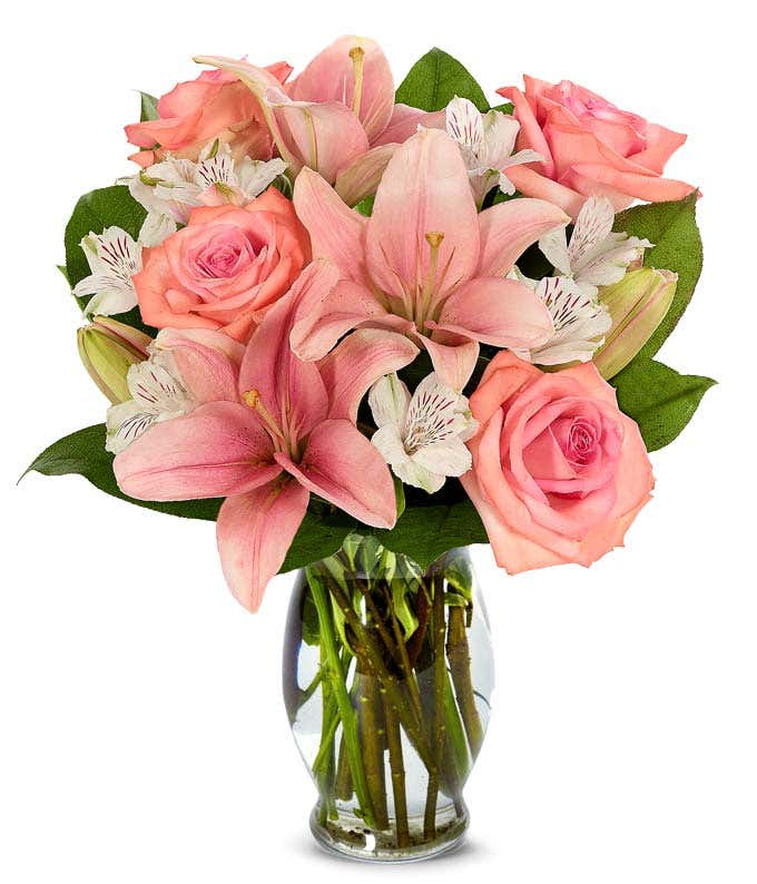 Pink roses, pink lilies and white alstroemeria