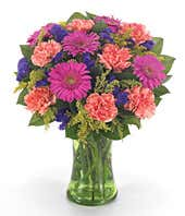 Hot pink gerbera daisies, orange carnations and purple flowers in vase