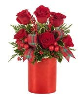 Red roses and red ornament bouquet