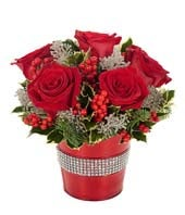 Holiday Rose & Glitter Bouquet