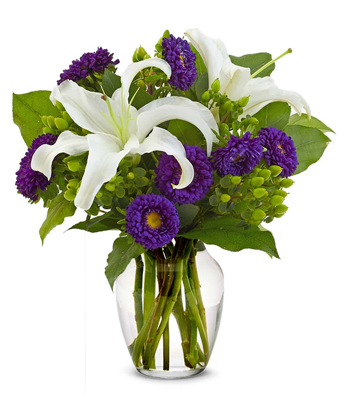 White lilies and purple aster bouquet