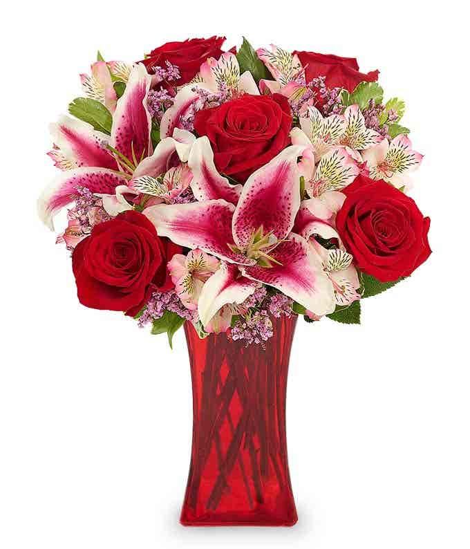 Romantic red rose and pink alstroemeria bouquet