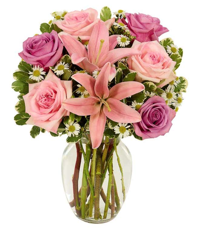 Pink roses and pink lilies with monte casino