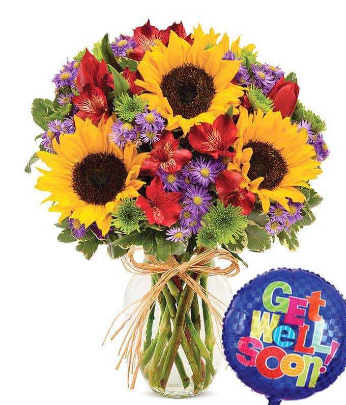 Get well soon flower arrangement with sunflowers, tulips and get well balloon