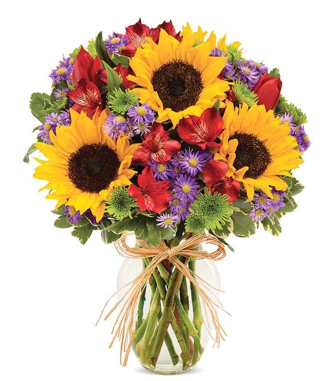 Sunflowers and pastel flowers for Mother's Day delivery
