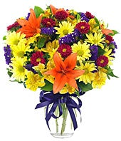 Bouquet with yellow and red lilies and alstroemeria variety
