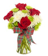 Red roses and white cushion pom bouquet