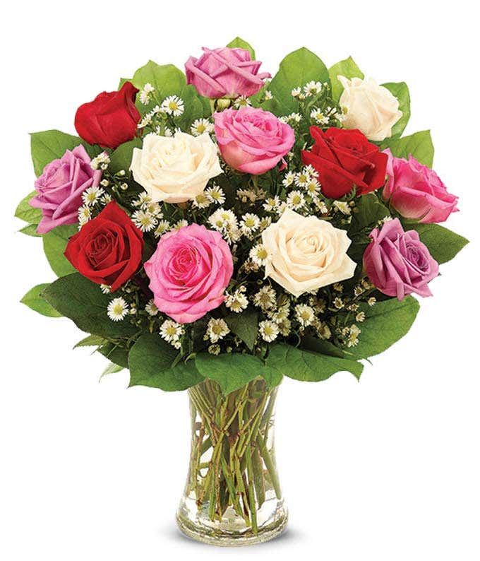 Romantic red roses, white roses and pink rose bouquet