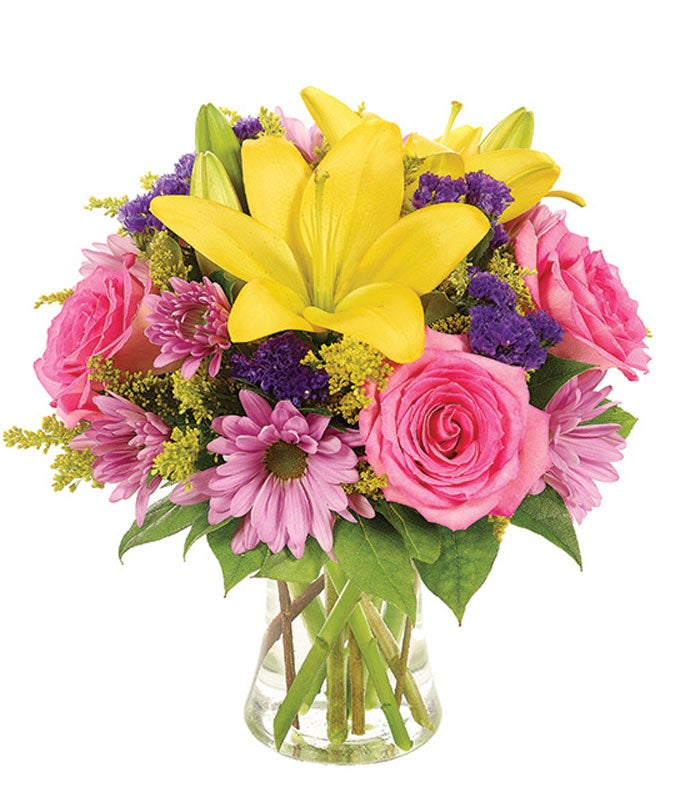 Pink roses, purple daisies and yellow lilies
