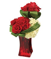 Modern two tier red rose bouquet