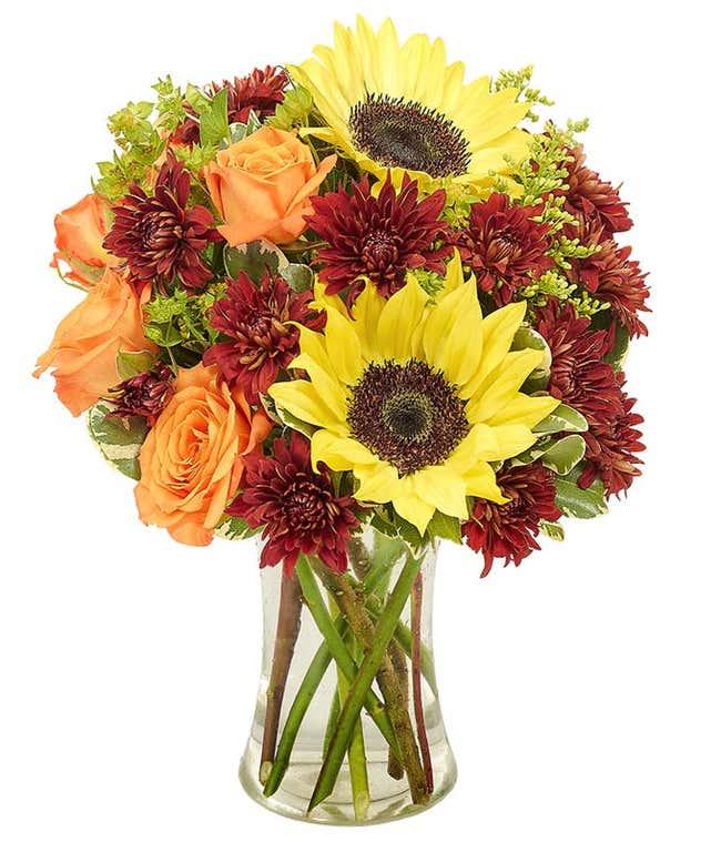 Sunflower & Roses Mason Jar