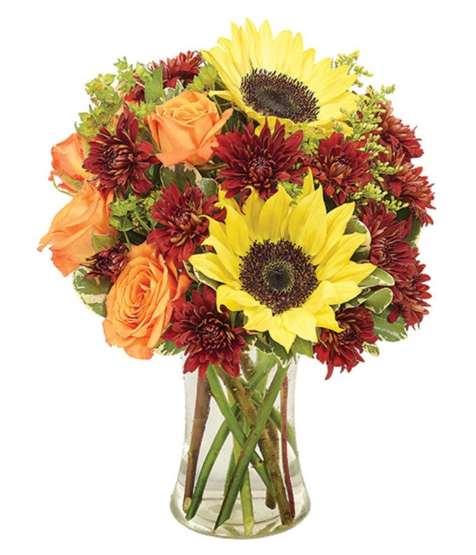 Sunflowers, Bronze Cushion Poms and orange roses in a vase