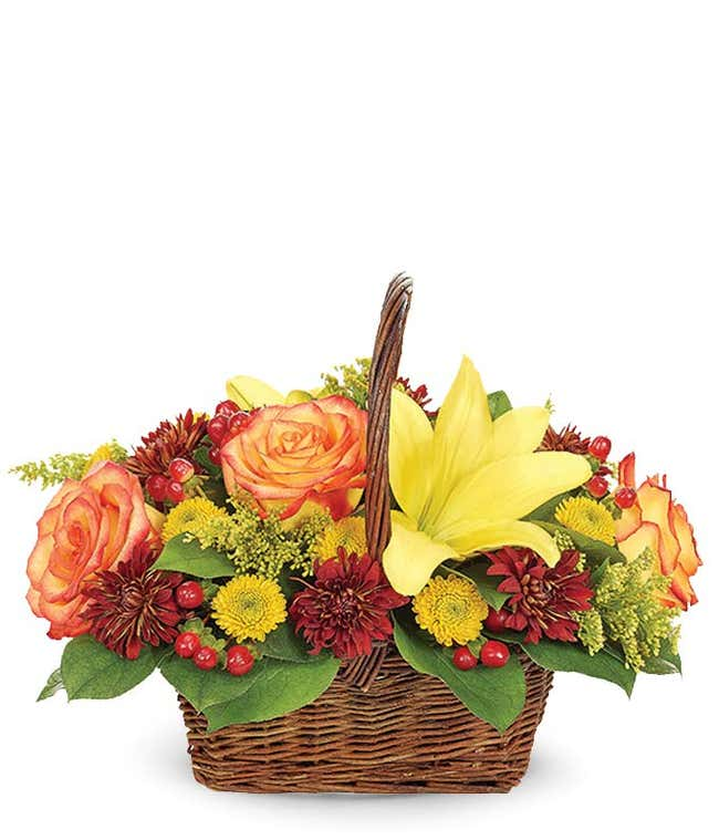 Thanksgiving flowers in a basket