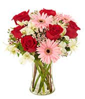 Valentine's daisy bouquet with red roses and pink Gerber