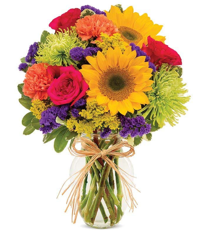 Summer Sunflower mixed bouquet with pink roses and green mums
