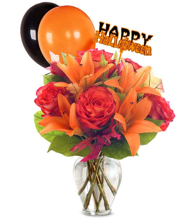 Orange roses and orange lilies with halloween balloons