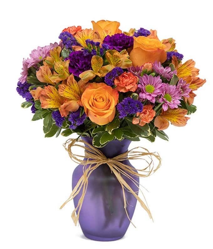 Purple fall flower bouquet