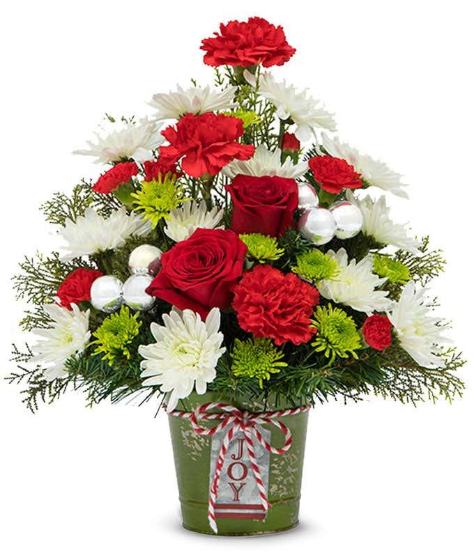 Tree shaped Christmas flower arrangement