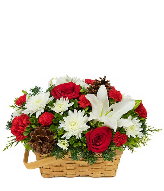 Christmas flower basket arrangement