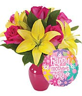 Pink roses and yellow lily bouquet delivered with a Mother's Day balloon