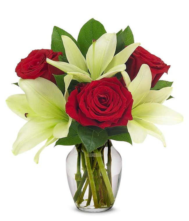 Red roses and white lilies
