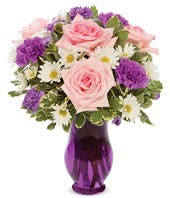Pink roses, purple carnations and white daisies delivered in a purple vase