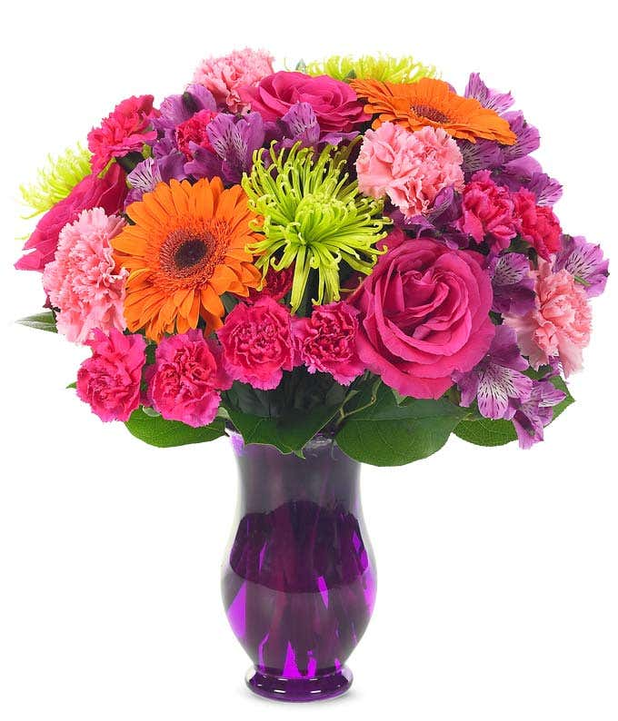 Bright flowers with pink roses and orange daisies