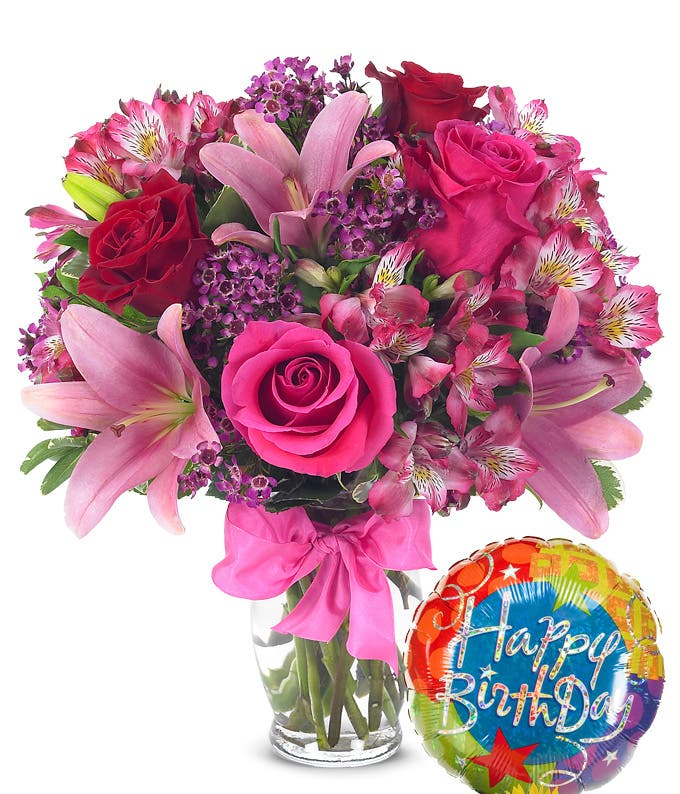 Happy Birthday balloon delivered with love flowers