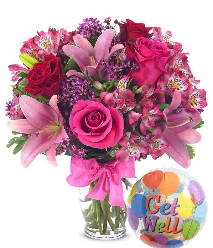 Rose & Lily Celebration with Get Well Balloon