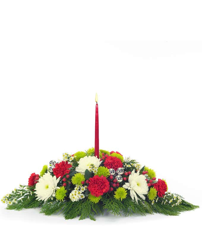 Christmas table centerpiece with red and white flowers