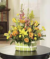 Lily and tulip sympathy basket
