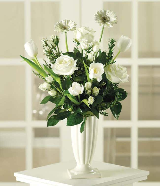 White sympathy funeral bouquet