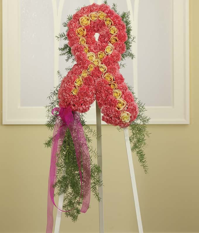 Breast cancer ribbon standing spray