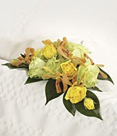 Green and Yellow Floral Casket Adornment