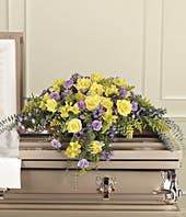 Yellow rose and purple carnation casket spray