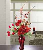 red roses, orchids, tulips and alstroemeria for sympathy