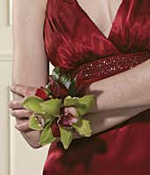 Green orchid wrist corsage