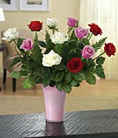 One dozen red, pink and white roses delivered