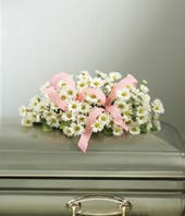 Pink Ribbon and White Daisy Child Casket Spray