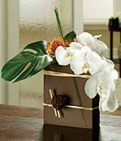 White orchids and steel grass bouquet