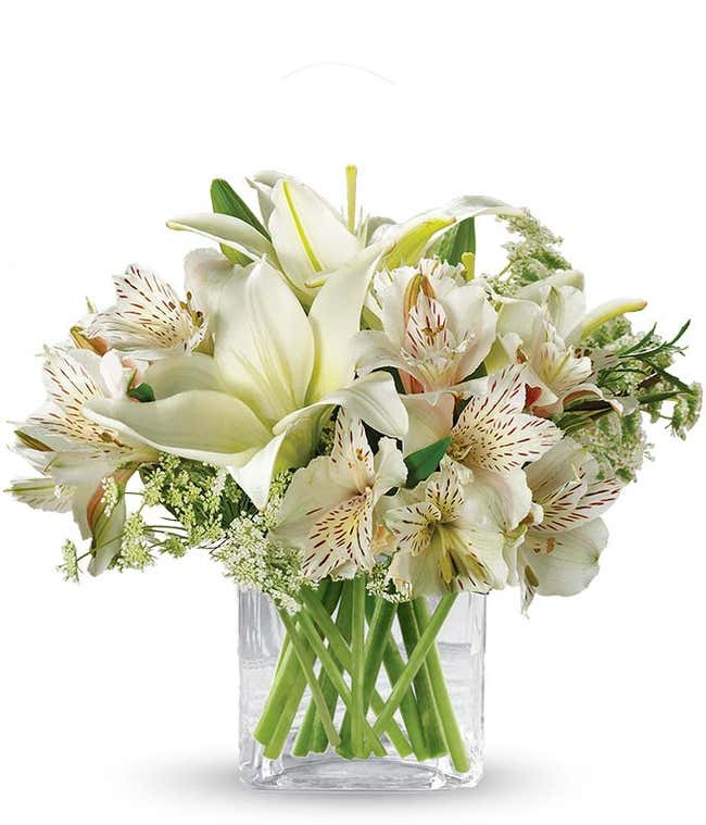 White lilies and alstroemeria