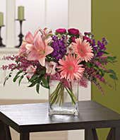 Pink gerbera daisies, pink asters and pink lilies