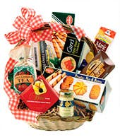 Gourmet treats in woven basket